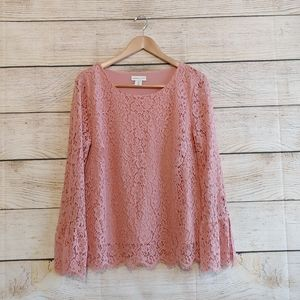 Adrienne Vittadini Pink Lace Bell Sleeve Blouse